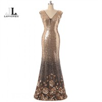 LOVONEY Sexy Backless Mermaid Evening Dress Panjang Sequin V Neck Form