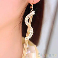 Anting Panjang Wanita Xuping Lapis Emas Korea Import Wedding Earrings