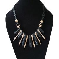 TSA1274-Party Necklace , kalung fashion batu hitam emas pesta