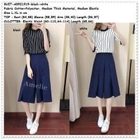 Setelan Set Baju Celana Kulot Wanita Korea Import AB921919 Hitam Putih