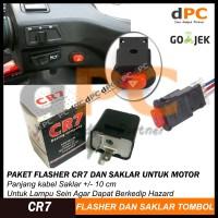 PAKET Termurah Flasher CR7 + Saklar Tombol On Off Lampu / Hazard Motor