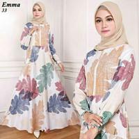 Maxi Emma 33 Putih Baju Muslim Wanita Gamis Model Kekinian Terbaru