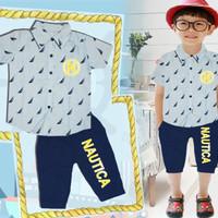 Baju Setelan Anak Laki London Kids LK Kemeja Nautica Biru Celana Navy