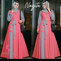 Maxy Nagita Peach Baju Muslim Wanita Gamis Model Terbaru