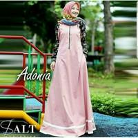 Adonia Maxy Pink Baju Muslim Wanita Kekinian Gamis Seragam Muslimah