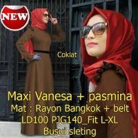 Baju Gamis Muslim Pakaian wanita warna coklat - Maxi Vanesa SW