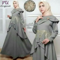 Baju Gamis Muslim Dress Wanita Dewasa Lebaran Wanita Warna Abu