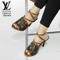 Sepatu High Heels Terbaru Lv Palang 2 Coklat Cokelat 40