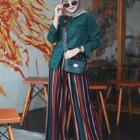 Celana panjang kulot wanita garis