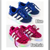 Sepatu Sekolah Anak Lampu / LED Knit Stripes