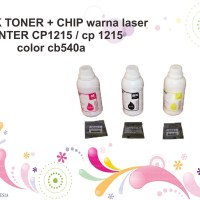 SERBUK TONER + CHIP warna laser PRINTER CP1215 / cp 1215 color cb540a