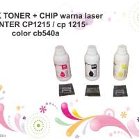 SERBUK TONER + CHIP warna laser PRINTER CP1215 / cp 1215 color cb540a