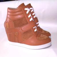 Jual Sepatu wanita sneaker hidden wedges boots heels hak tinggi kets coklat Murah