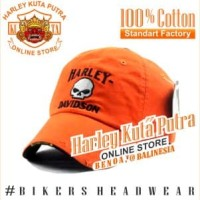 Topi Import Harley Bikers Harley Davidson Skull Harley Orange Bordir