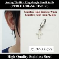 Anting Tindik Cowok Pria - Ring dangle Small Salib