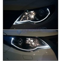 LED DRL Flexible 60CM Lampu Alis Mobil 2 Warna 2 Mode F