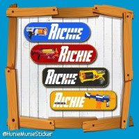 Sticker Nama Custom - Nerf Gun (100pcs+)