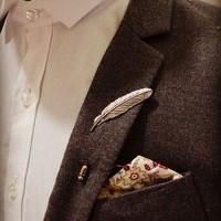 Bros Pria Daun Classic Brooch Pin Mantel Jas Kantor Hadiah Wedding