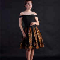 Baju Pesta Dress Wanita Batik Katun Cap Motif Tolet Kombinasi Gunungan