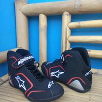 sepatu drag alpinestars new hitam list merah