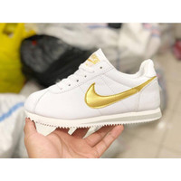 Nike Cortez IMPORT White Putih Gold Sepatu Cewe Wanit Gym Fitness