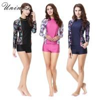 Dicetak Floral Swimwear untuk Wanita Panjang Lengan Baju Renang Konser