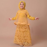 baju muslim pesta nina anak perempuan 3 4 5 tahun kid ami mustard VT