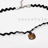 choker zigzag hello kitty bronze/aksesoris kalung korea/necklace impor