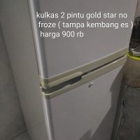 kulkas 2 pintu merk goldstar mulus dingin cepet