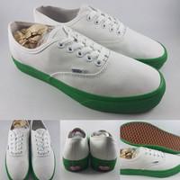 Sepatu Kets Vans Authentic Poplite White Green Sole Canvas Putih Hijau