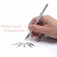 Pisau Cutter Kecil with Metal Handle + 5 Pcs Blade Set - Silver