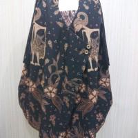 Baju Pesta Batik Wanita Dress Batik Katun Hitam Motif Wayang Kombinasi