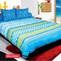 BEDCOVER SET MY LOVE BLUE AZTEC No.1 KING 180 T30 BCS ZIGZAG BED COVER