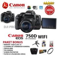 CANON EOS 750D KIT 18-55MM IS STM PAKET BONUS 6 ITEM - KAMERA SLR