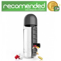 Botol Minum Unik dengan Slot Tempat Obat 600ML - Hitam