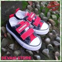 converse low kids hitam merah perekat/ sepatu sekolah anak/santai