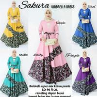 Gamis dress batik kombinasi polos sakura