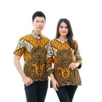 CPT70 Batik Couple Muslim Katun Lengan Panjang Seragam Baju Wanita