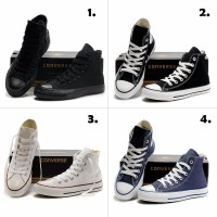 Terlaris Sepatu Converse High 4 warna FULL HITAM HITAM PUTIH FULL PUT