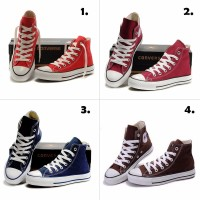 Terlaris Sepatu Converse High 4 warna MERAH MAROON BIRU NAVY COKLAT