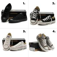 Terlaris Sepatu Converse Low 4 warna FULL HITAM HITAM PUTIH FULL PUTI