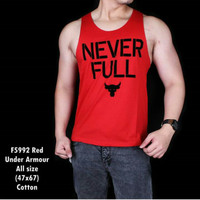 Singlet Tangtop Pria Gym Fitnes Never full merah