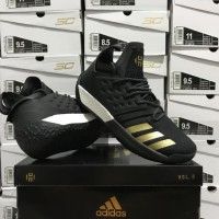9205ced3289 Sepatu Basket Adidas Harden 2 Black White Gold Hitam Putih Emas