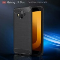Samsung J7 Duo 2018 Softcase Texture Carbon Case Casing Cover Silikon