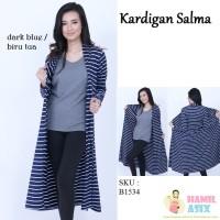 Salma Kardigan kaos rayon spandex Hitam / Biru / Abu