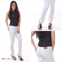 JSK 1106 Celana Panjang standar Putih Jeans Wanita / Cewek