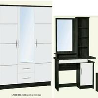 Lemari 3 pintu cermin dan meja rias putih glossy