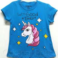 Baju kaos karakter anak perempuan unicorn biru 7-10