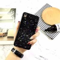 Casing HP Sparkling Black Motif Glitter Tanam Oppo F1s F3 F5 A37 A39