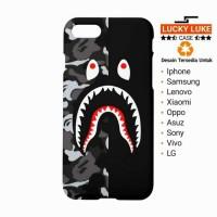 New Casing HP bape camo shark stripe grey Samsung s8 a7 vivo v5 iphon